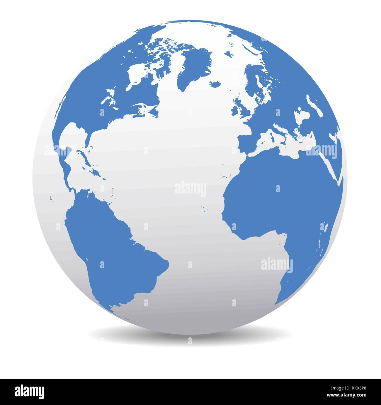 Europe, North, South America, Africa Global World, Vector Map Icon of the Earth - Stock Vector