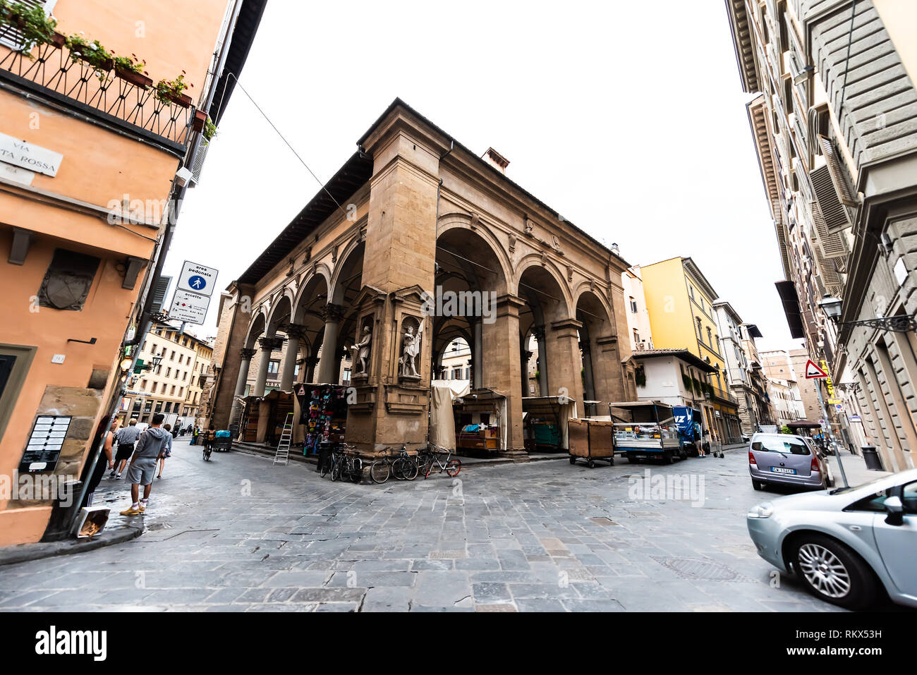 Florence, Italy - August 31, 2018: Building facade of historic Mercato del Porcellino in Firenze, Italian city architecture in morning - Stock Image