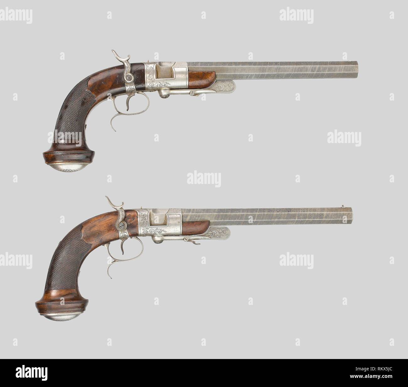 Pair of Breechloading Percussion Rifled Dueling Pistols