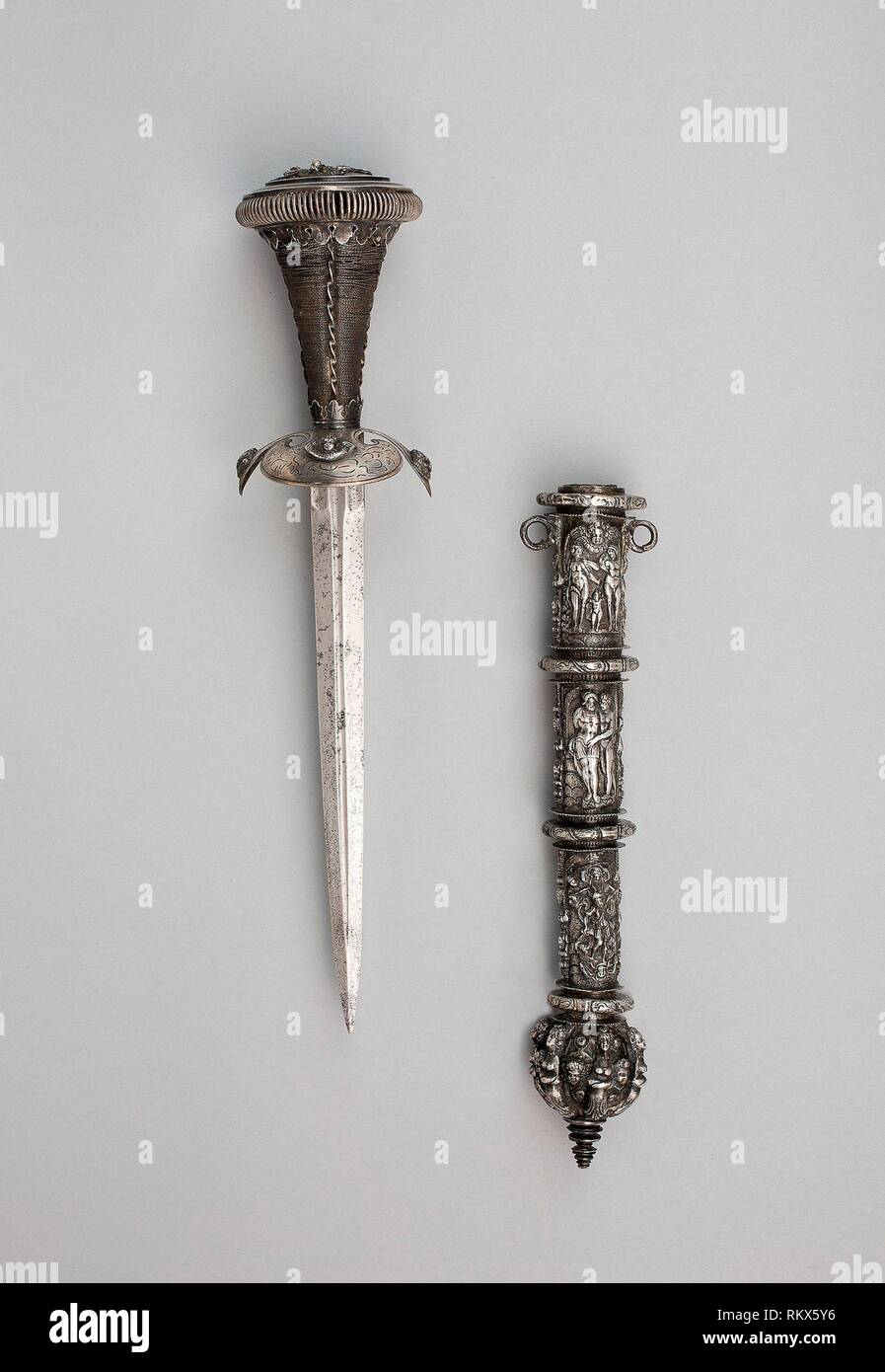 Dagger and Sheath - Scabbard: third quarter of 16th century; dagger: 19th century in 16th century style - German - Origin: Germany, Date: 1550–1575, - Stock Image