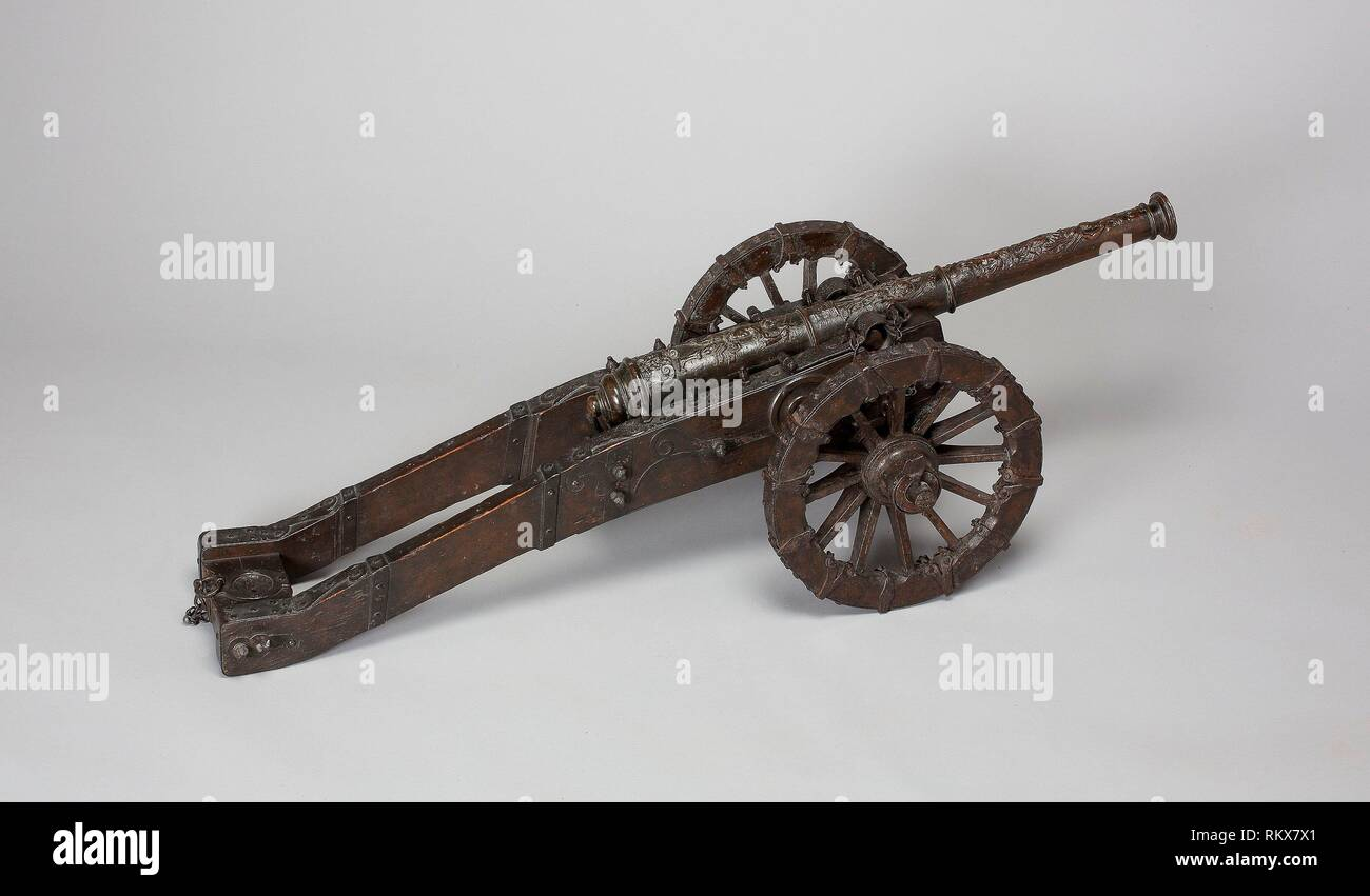 Model Field Cannon with Carriage - 16th century - French - Artist: Dodemant, Origin: France, Date: 1570–1700, Medium: Bronze, oak, and iron, - Stock Image