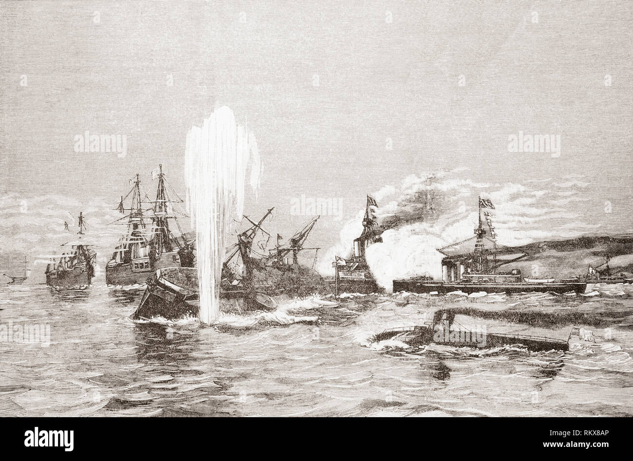 Sea battle between battleships and torpedo boats in the 19th century.  From La Ilustracion Espanola y Americana, published 1892. - Stock Image