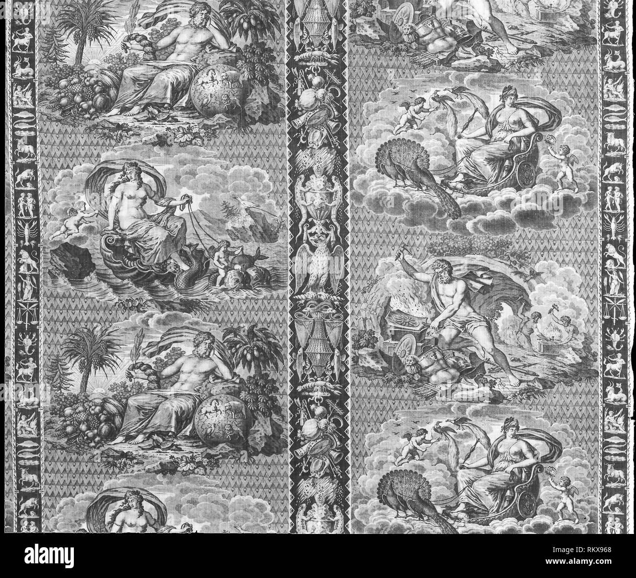 The Elements (Furnishing Fabric) - c. 1810 - Designed by Marie Bonaventure Lebert (French, 1759–1836) Manufactured by Hartmann et Fils (French, - Stock Image