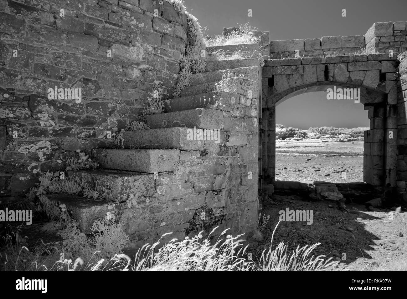 An Infrared monochrome image of the interior of Fort Houmet Herbe on Alderney, Channel Islands. - Stock Image