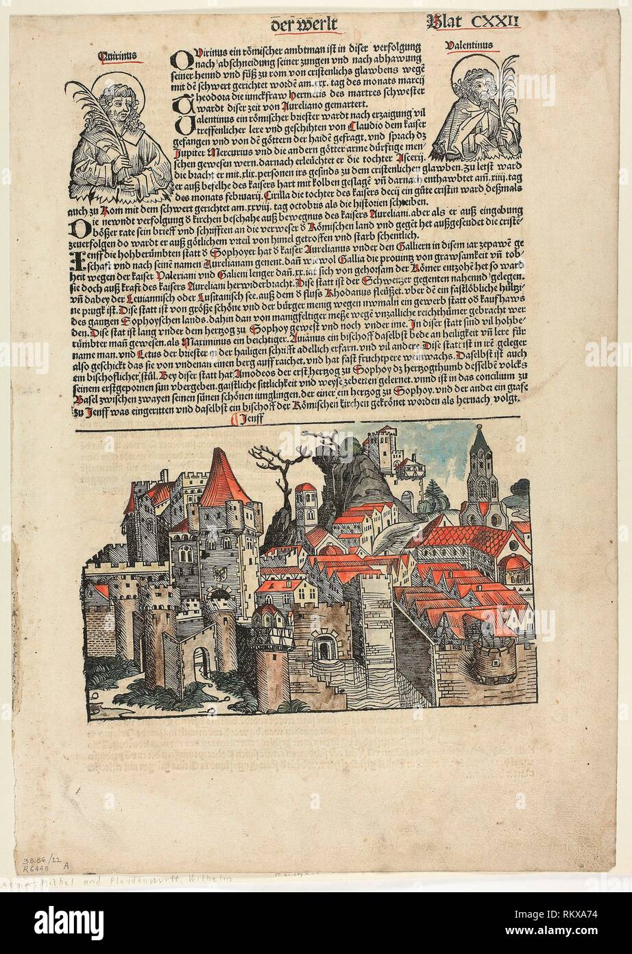 Geneva from Schedel Weltchronik (Schedel's World History), Plate 22 from Woodcuts from Books of the 15th Century - 1493, portfolio assembled 1929 - - Stock Image