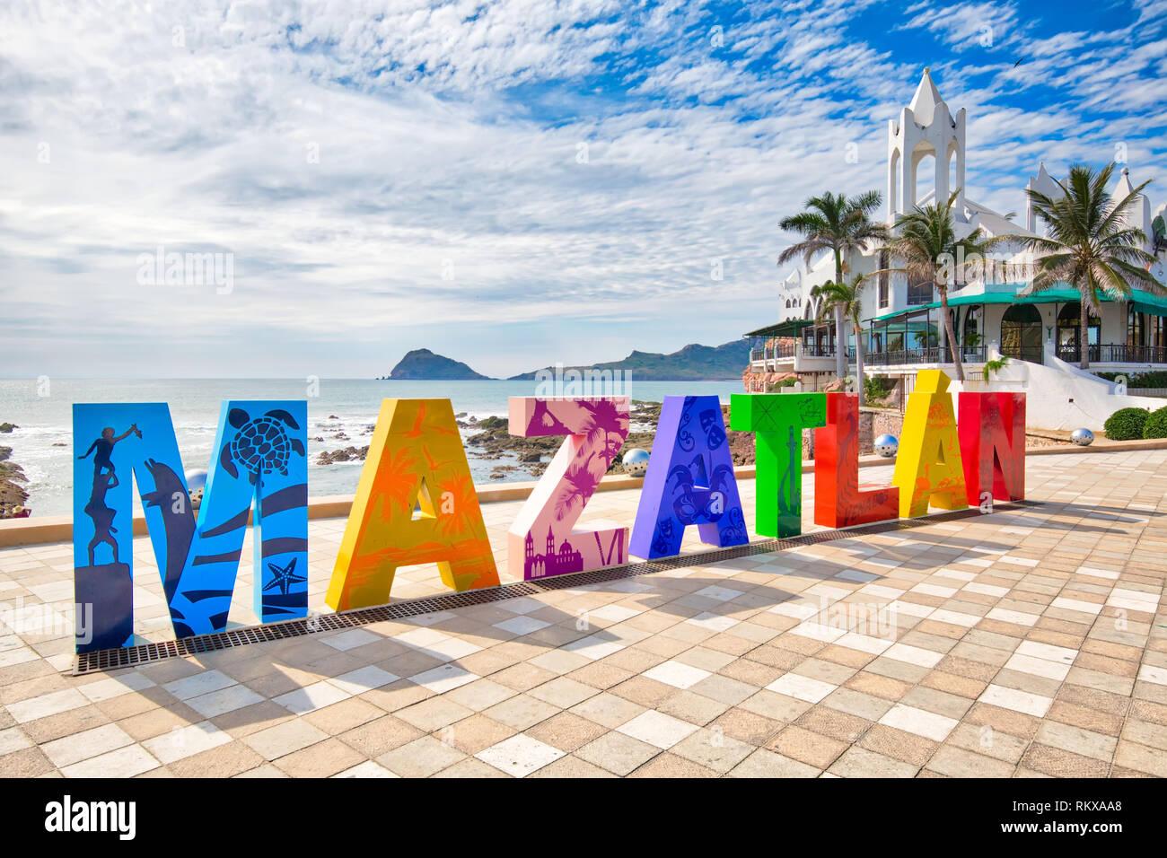 Mazatlan, Mexico-10 December, 2018: Big Mazatlan Letters at the entrance to Golden Zone (Zona Dorada), a famous touristic beach and resort zone in Mex Stock Photo
