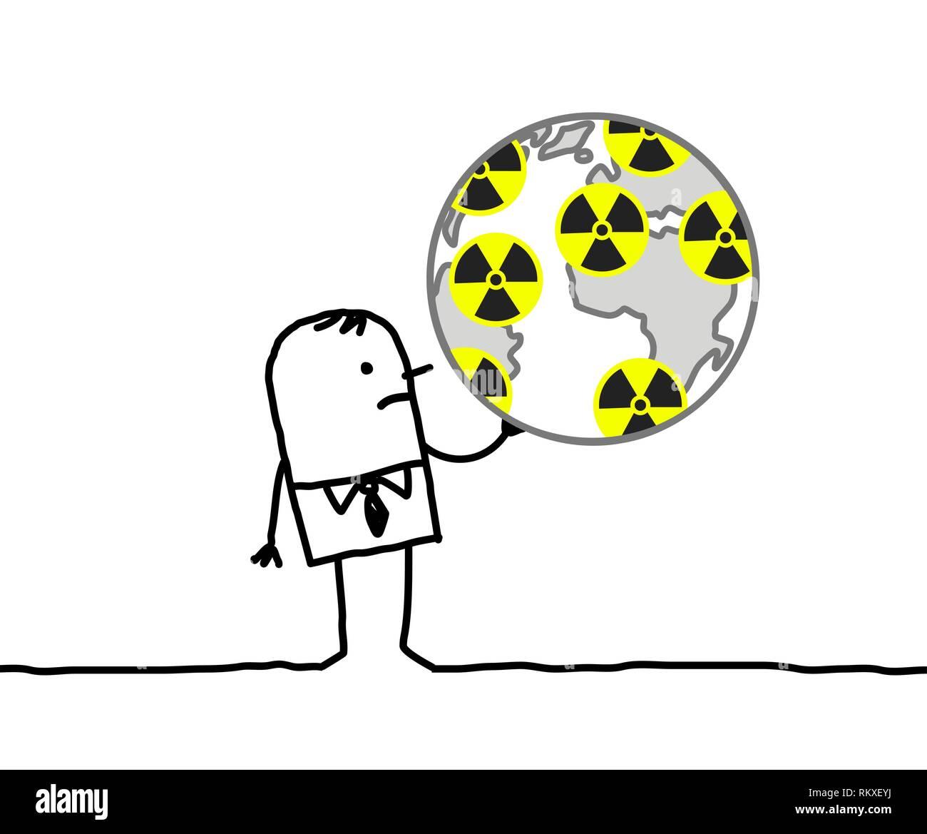 Cartoon businessman & nuclear world - Stock Vector