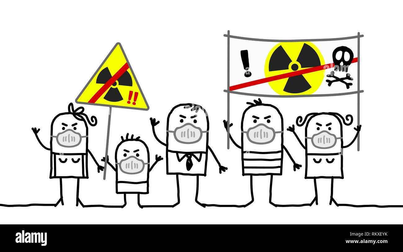 Cartoon people against nuclear power - Stock Vector