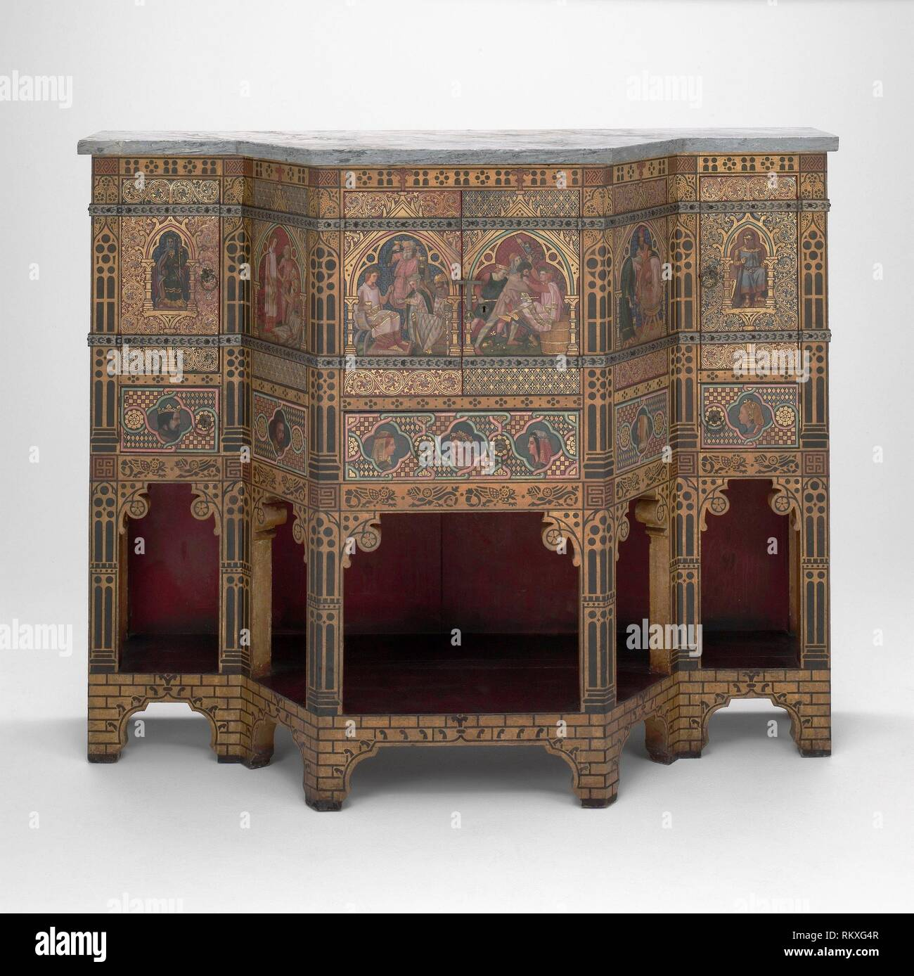 Sideboard and Wine Cabinet - 1859 - Designed by William Burges English, 1827–1881 Painted by Nathaniel Hubert John Westlake English, 1833–1921 Made - Stock Image