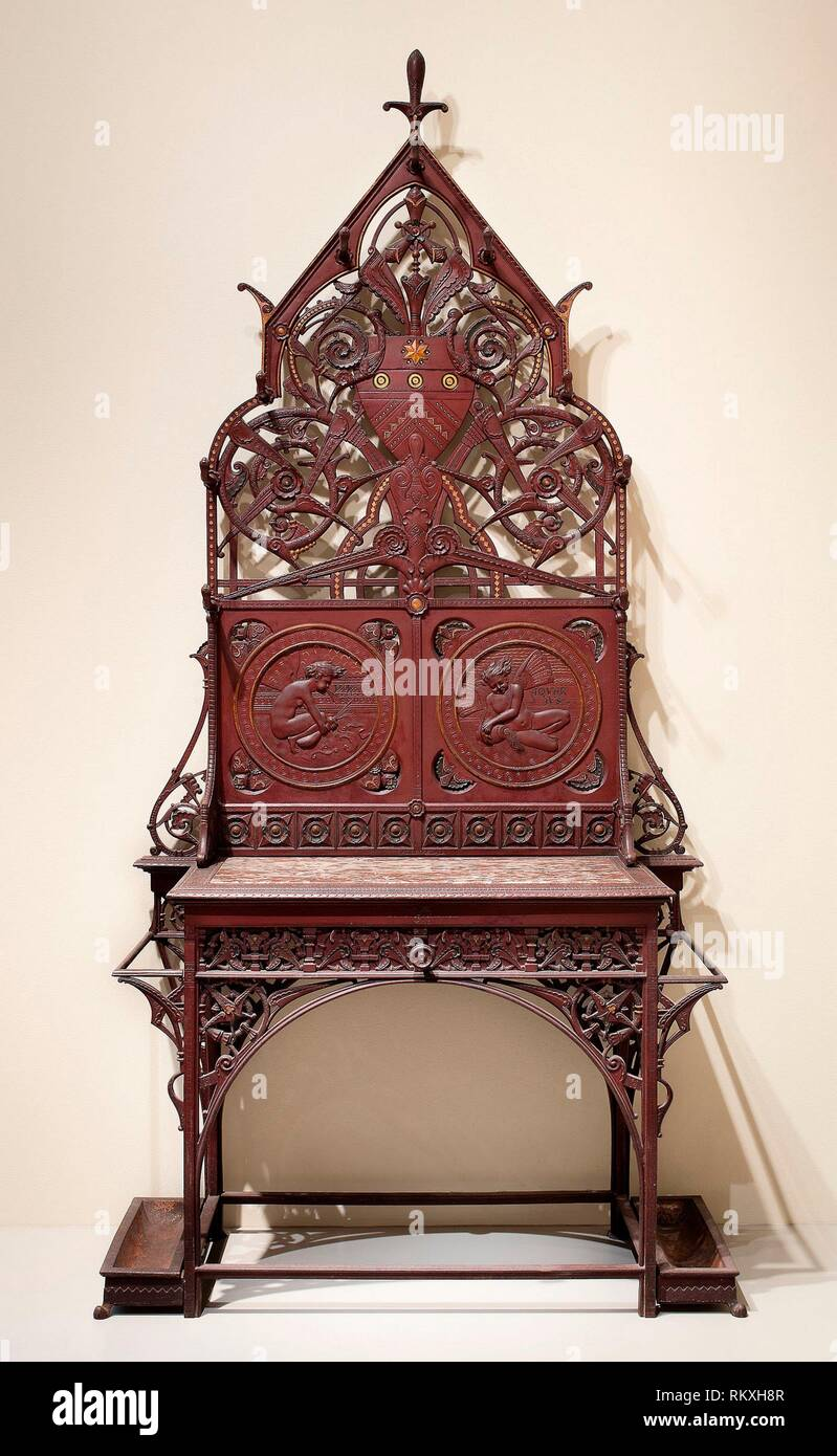 Hall Stand - About 1870 - Christopher Dresser (English, born Scotland, 1834-1904) Manufactured by Coalbrookdale Company of Ironbridge (English, - Stock Image