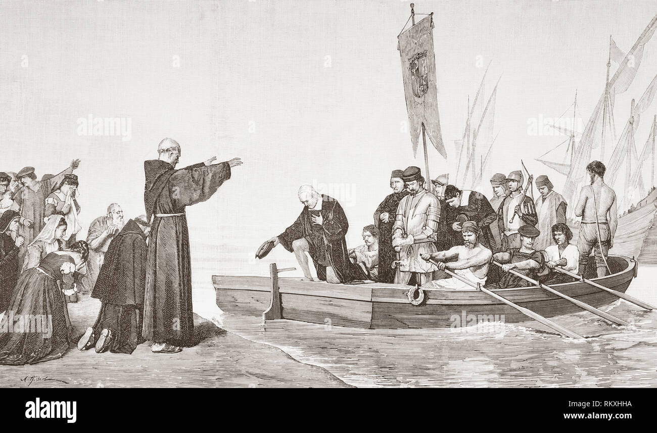A priest blesses Christopher Columbus and his crew before their departure on the first voyage to discover America, 3 August 1492, from Palos de la Frontera, Huelva, Andalusia, Spain. Christopher Columbus, 1451 - 1506.  Italian explorer, navigator, and colonist.  From La Ilustracion Espanola y Americana, published 1892. - Stock Image