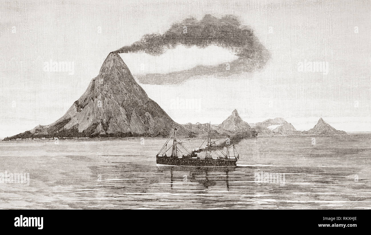 The eruption of the Gunung Awu volcano, 2 March, 1856, Sangir Besar, aka Sangir Island, North Sulawesi, northern Indonesia. The resulting death toll was between 2,000 to 6,000 people.  From La Ilustracion Espanola y Americana, published 1892. - Stock Image