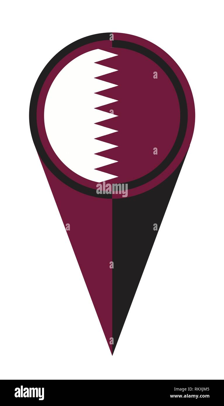 Qatar map pointer pin icon location flag marker Stock Vector ...