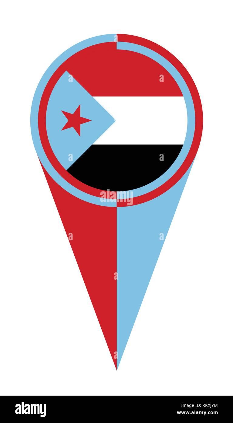 Yemen map pointer pin icon location flag marker - Stock Vector