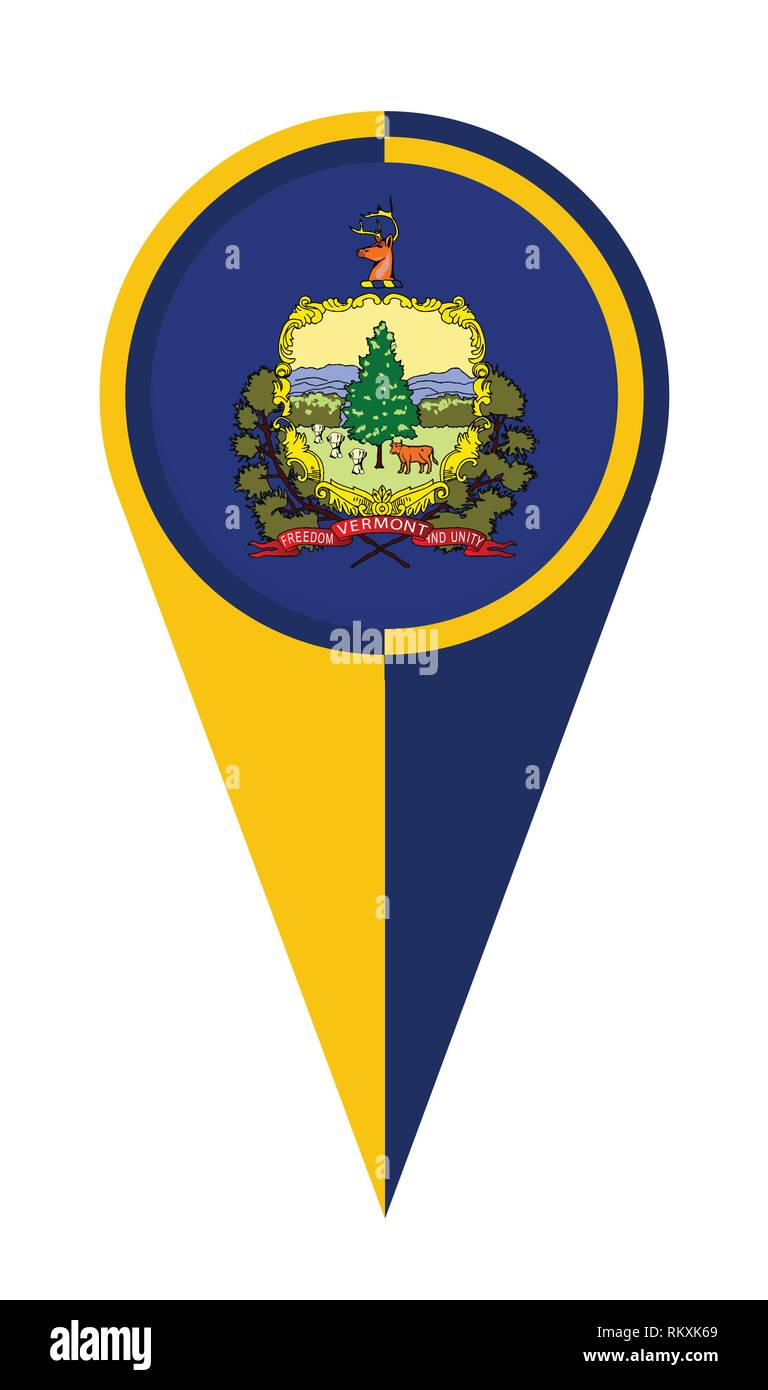Vermont state map pointer pin icon location flag marker