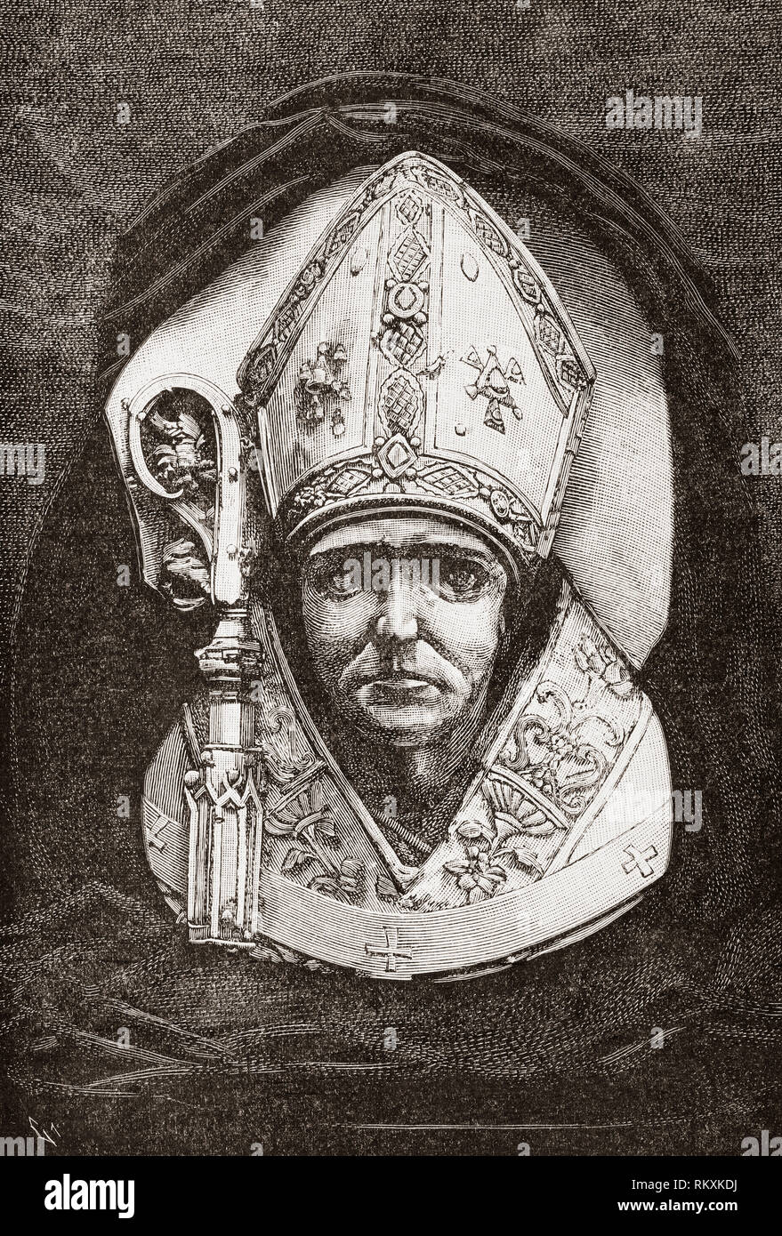 Bust of Diego de Deza, 1444 – 1523.  Theologian and inquisitor of Spain. He succeeded Tomás de Torquemada to the post of Grand Inquisitor during the Spanish Inquisition.  From La Ilustracion Espanola y Americana, published 1892. - Stock Image