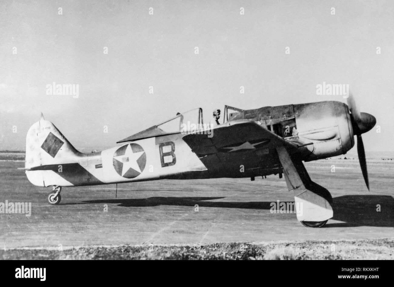 A captured German Luftwaffe Focke Wulf FW 190 in the marking of the USAAF. This aircraft originally had the Werk Number 0181550. It was captured by the Allies in North Africa and later flown by the 85th FS, 79th FG of the United States Army Air Force. - Stock Image