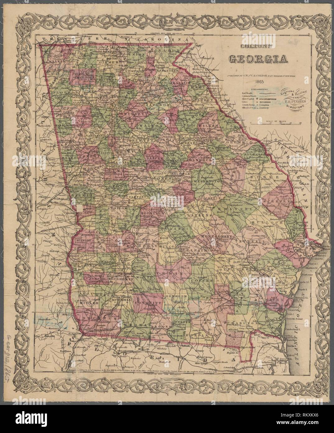 Map Of Georgia 1865.Colton S Georgia G W C B Colton Co Publisher Pughe E H