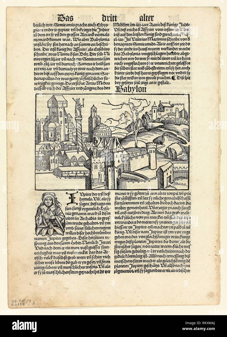 Babylon from Schedel Weltchronik (Schedel's World History), Plate 9 from Woodcuts from Books of the 15th Century - 1496, portfolio assembled 1929 - - Stock Image