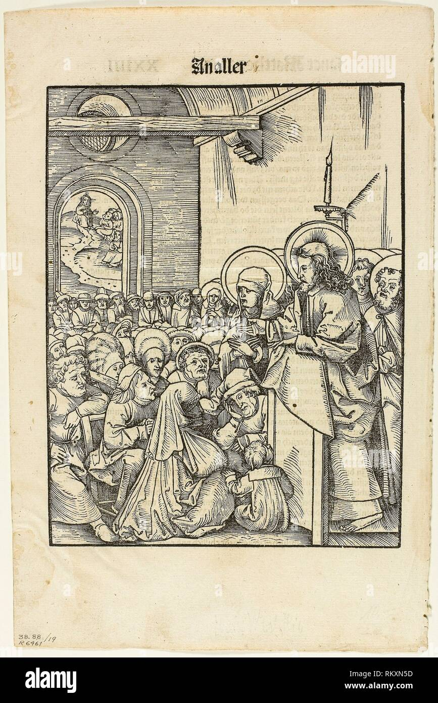 Christ Preaching, from Leben Jesu Christi, plate 19 from Woodcuts from Books of the XVI Century - 1508, portfolio assembled 1937 - Hans Wechtlin - Stock Image