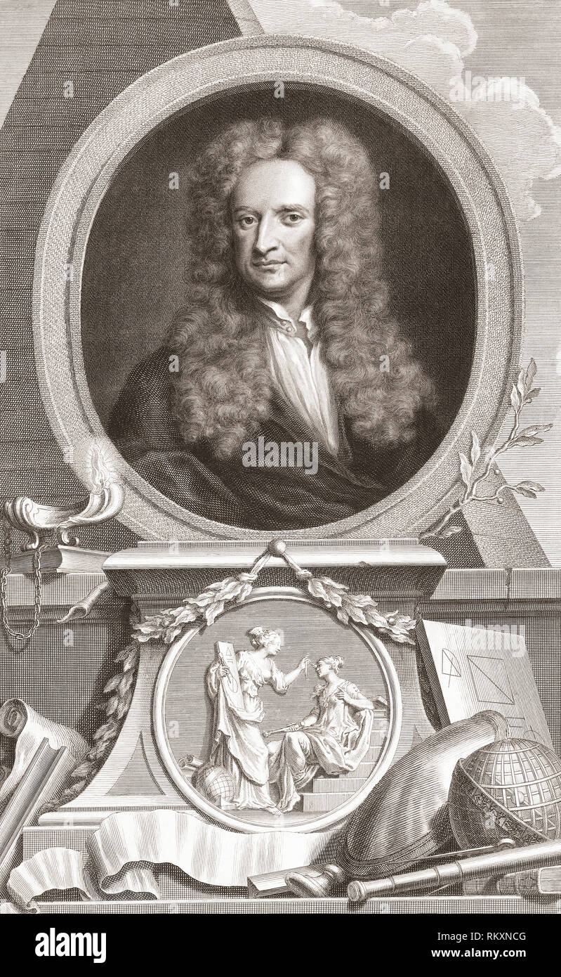 Sir Isaac Newton, 1642-1727.  English physicist and mathematician.  From the 1813 edition of The Heads of Illustrious Persons of Great Britain, Engraved by Mr. Houbraken and Mr. Vertue With Their Lives and Characters. - Stock Image