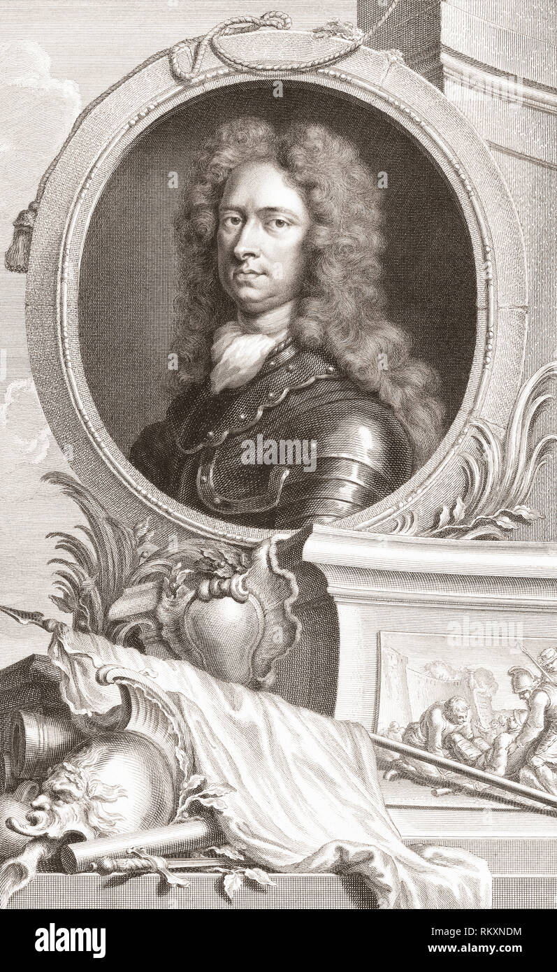 Thomas Tollemache aka Talmash or Tolmach, c. 1651 – 1694.  English soldier and member of Parliament. From the 1813 edition of The Heads of Illustrious Persons of Great Britain, Engraved by Mr. Houbraken and Mr. Vertue With Their Lives and Characters. - Stock Image