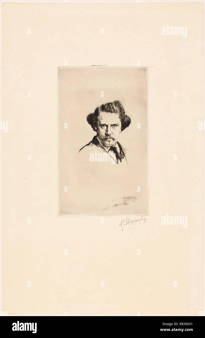 Portrait of Alfred Cadart - 1875 - Marcellin Gilbert Desboutin French, 1823-1902 - Artist: Marcellin Gilbert Desboutin, Origin: France, Date: 1875, - Stock Image