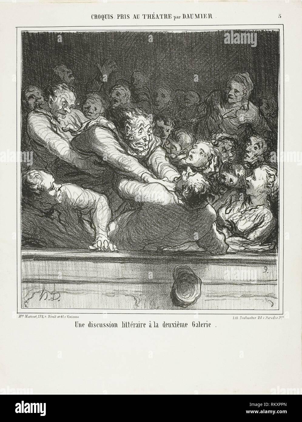 A literary argument on the second tier, plate 3 from Croquis Pris Au Théatre par Daumier - published February 27, 1864 - Honoré Victorin Daumier - Stock Image