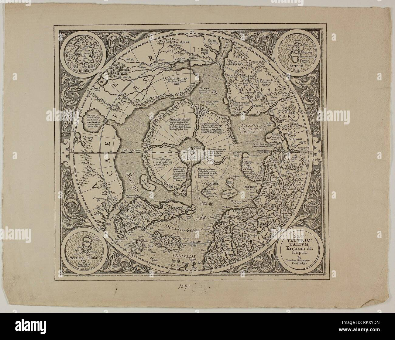 Map of the Mercator Projection - 1595, reprinted 1889 - Unknown Artist English, 19th century - Origin: England, Date: 1889, Medium: Engraving in - Stock Image