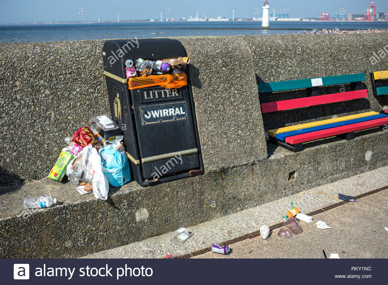 Full Litter Bin And Fast Food And Soft Drinks Containers And