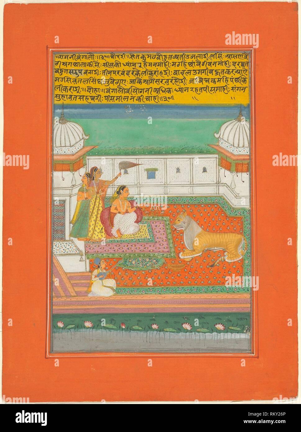 Ragini Bangali, Page from a Jaipur Ragamala Set - 1750/70 - India Rajasthan, Jaipur - Origin: Rajasthan, Date: 1745–1770, Medium: Opaque watercolor - Stock Image