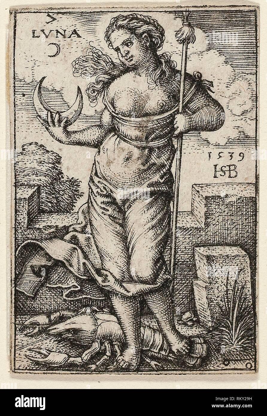 Moon, plate seven from The Seven Planets with the Zodiacs - 1539 - Sebald Beham German, 1500-1550 - Artist: Hans Sebald Beham, Origin: Germany, Date: - Stock Image