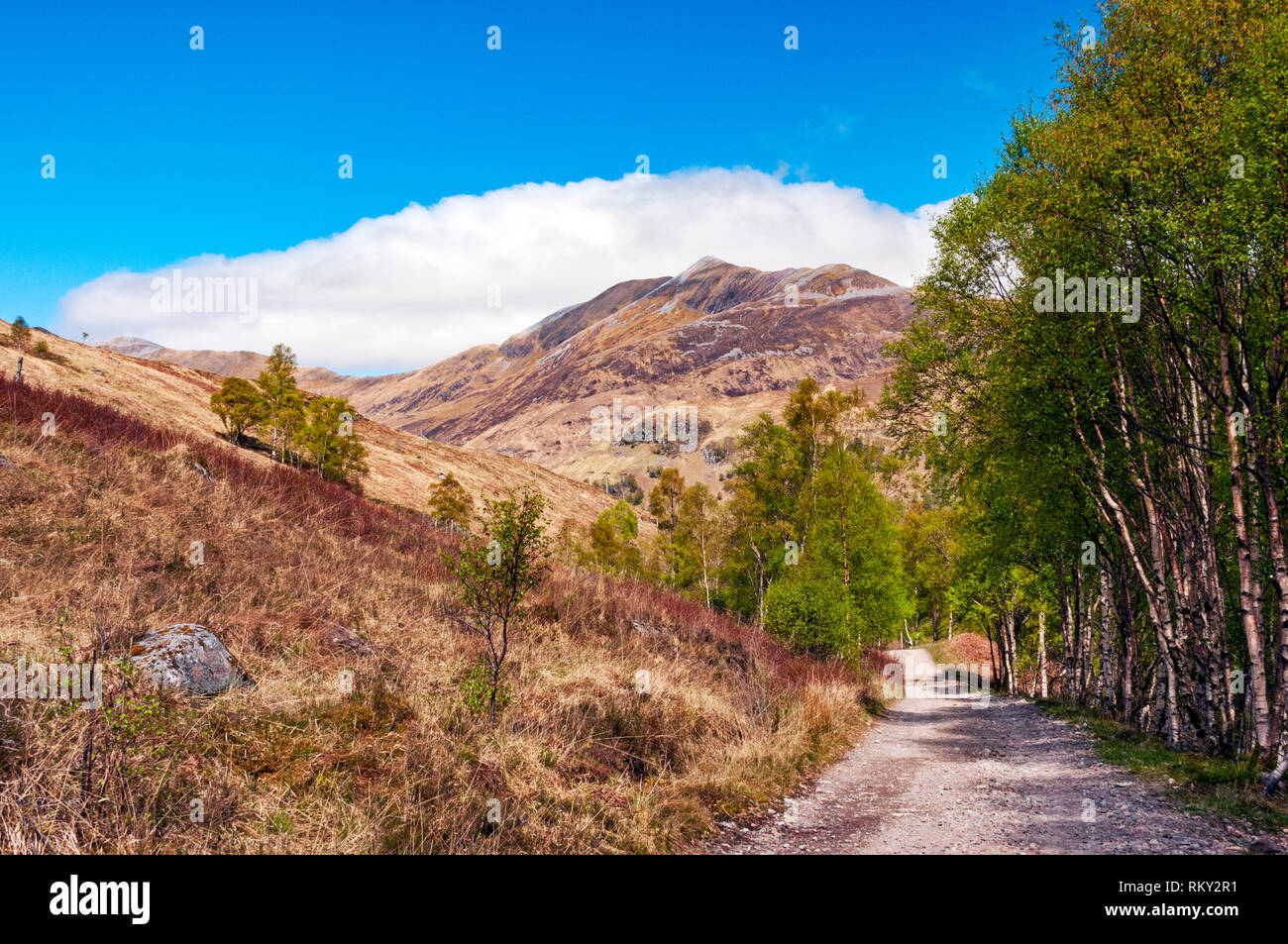 West Highland Way leading into Kinlochleven, Scotland - Stock Image