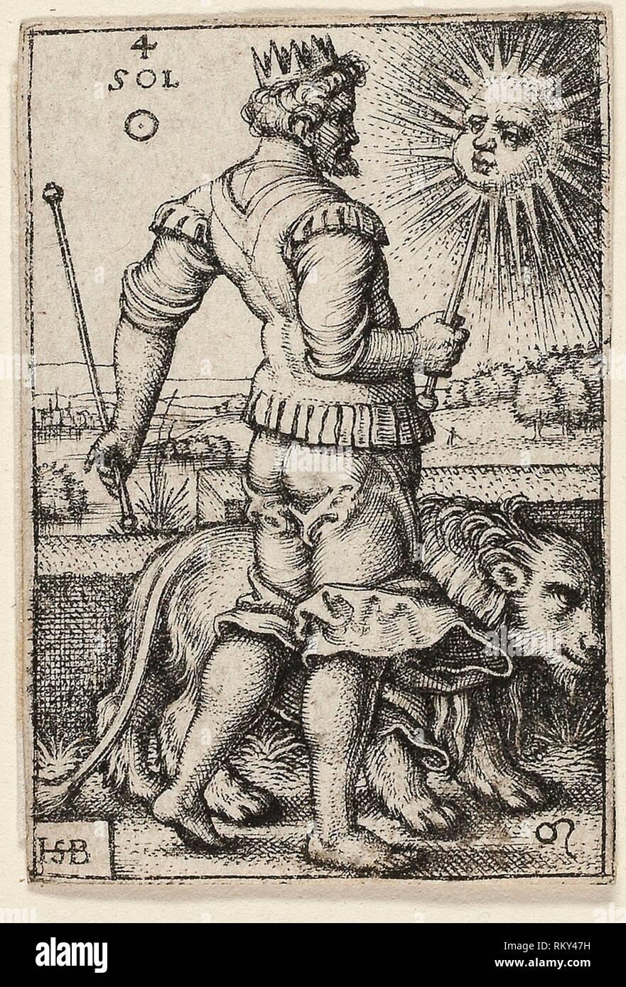 Sun, plate four from The Seven Planets with the Zodiacs - 1539 - Sebald Beham German, 1500-1550 - Artist: Hans Sebald Beham, Origin: Germany, Date: - Stock Image