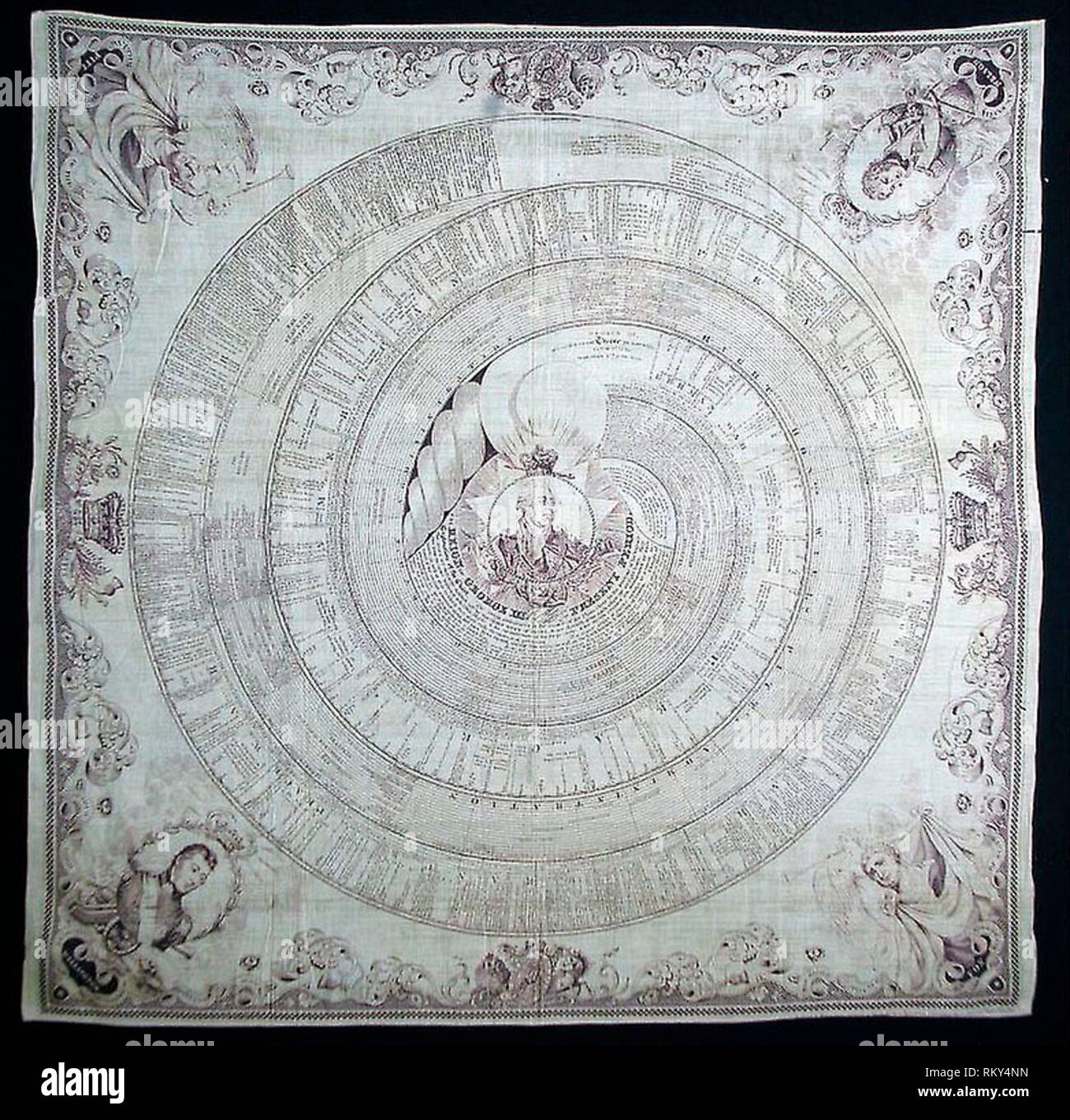 Handkerchief - 1812 - Engraved by Rymer and Son (English, active c. 1812) England, London - Artist: Rymer and Son, Origin: London, Date: 1812, - Stock Image