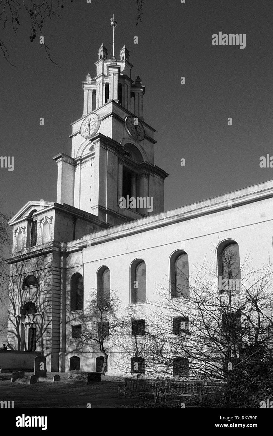 St Anne's church, Limehouse, in London's East End, Great Britain - Stock Image