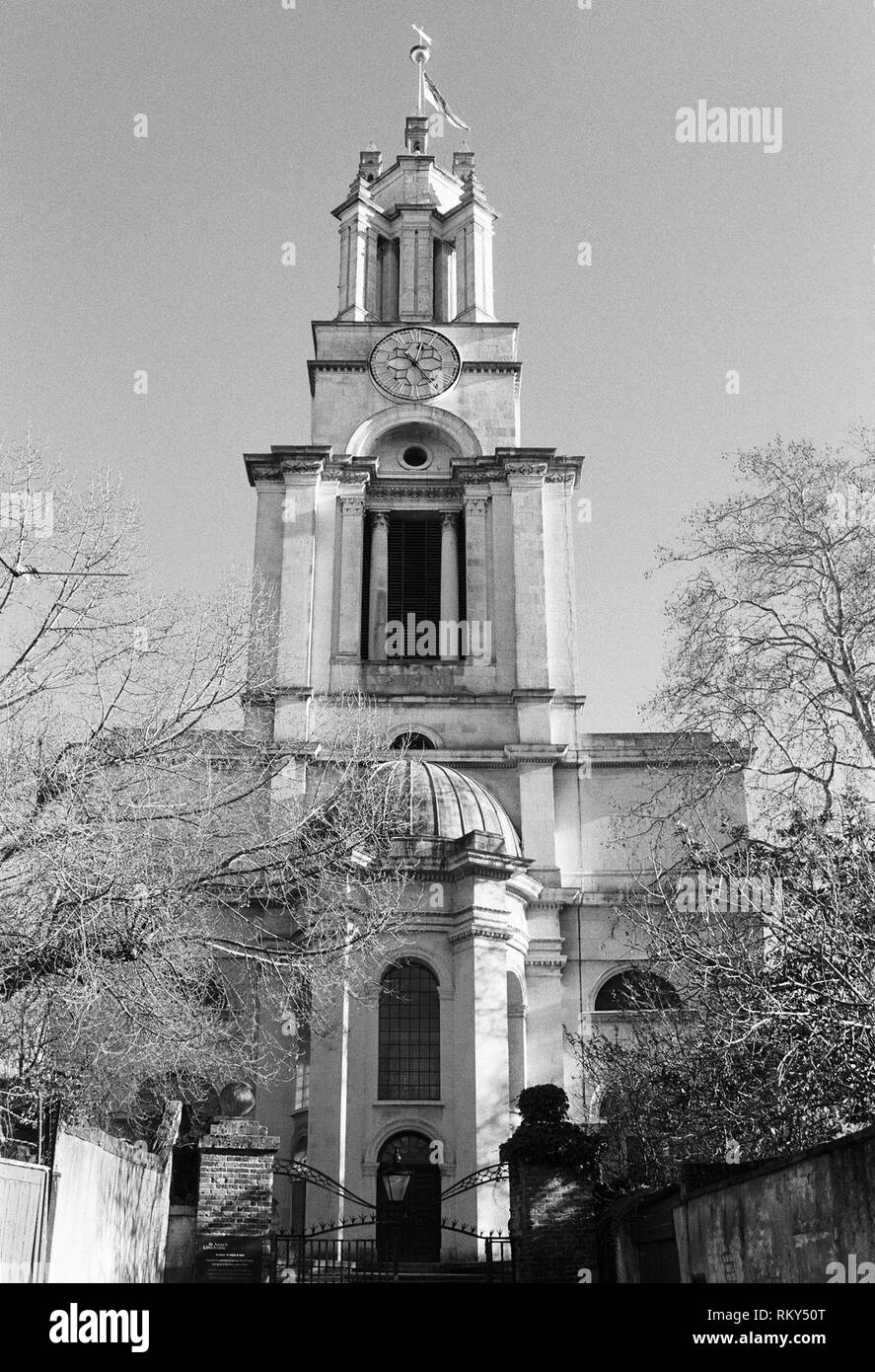 The tower of the Baroque church of St Anne, Limehouse, in London's East End, UK - Stock Image