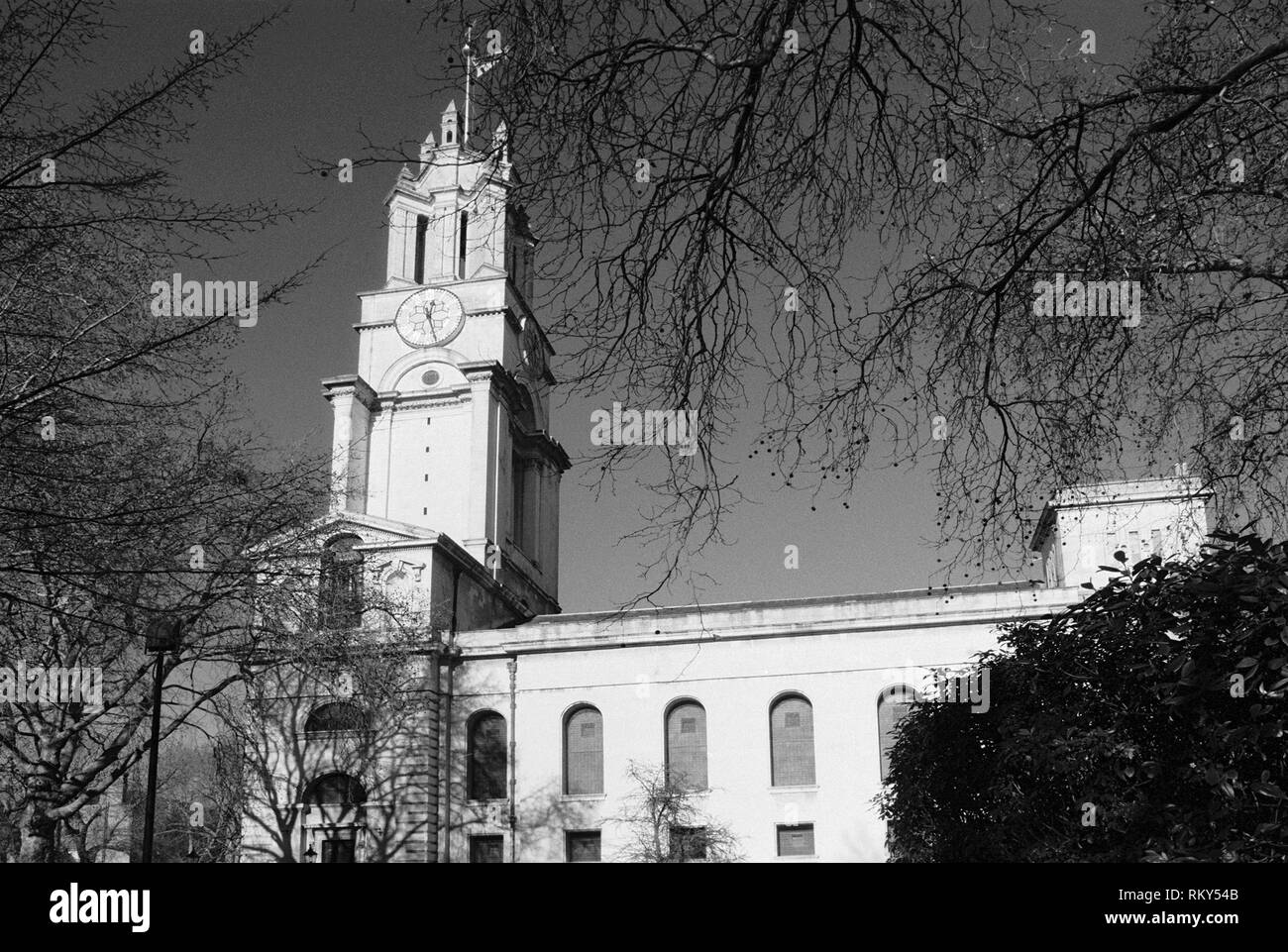 The Baroque St Anne's Church, Limehouse, East London UK, in winter - Stock Image