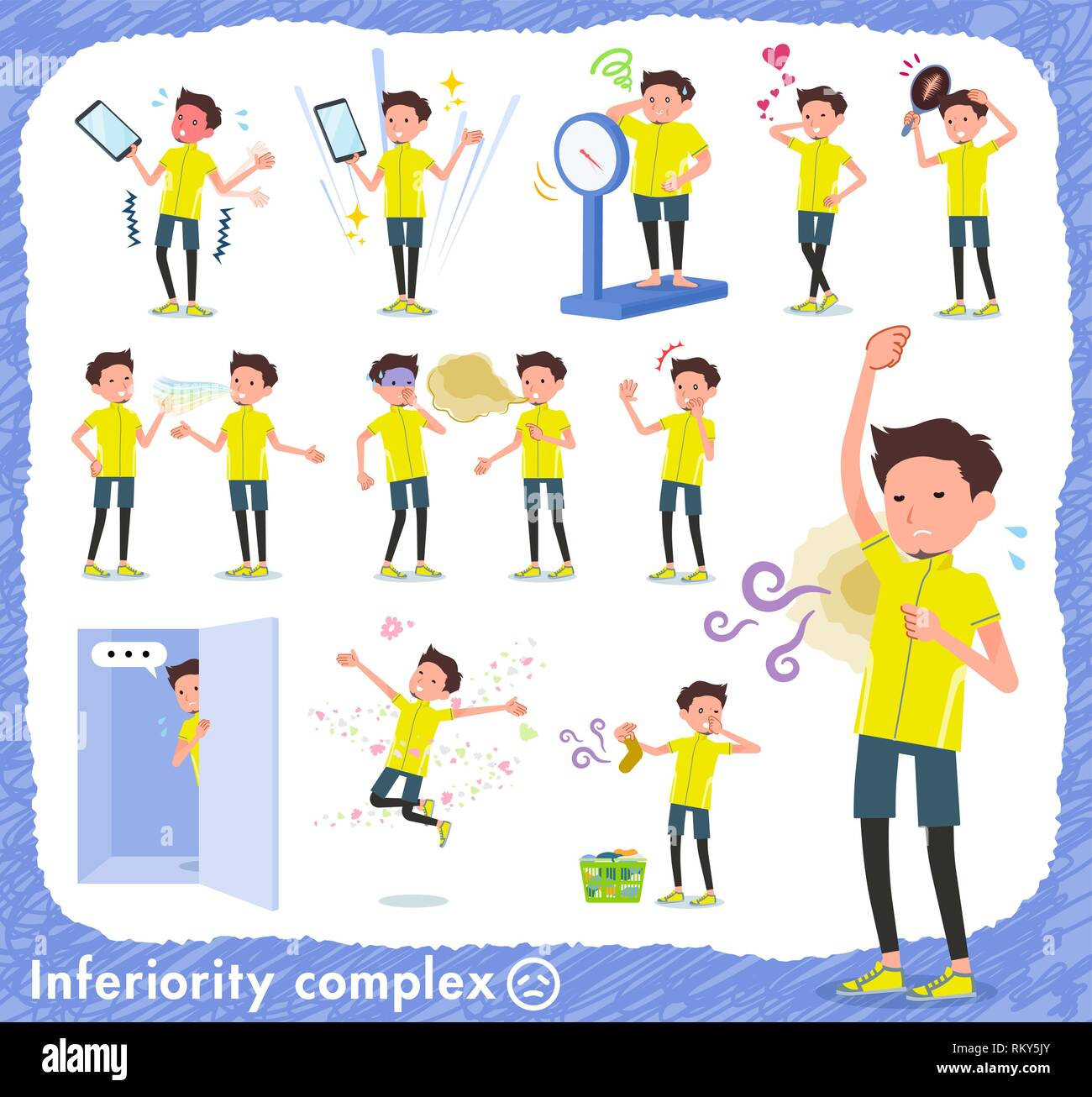 A set of man in sportswear on inferiority complex.There are actions suffering from smell and appearance.It's vector art so it's easy to edit. Stock Vector