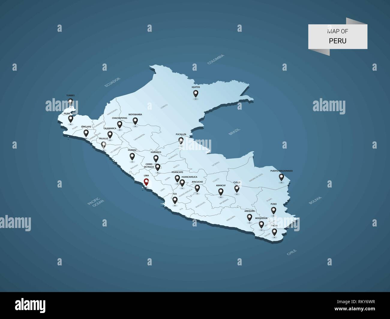 Peru Map Cities.Isometric 3d Peru Map Vector Illustration With Cities Borders