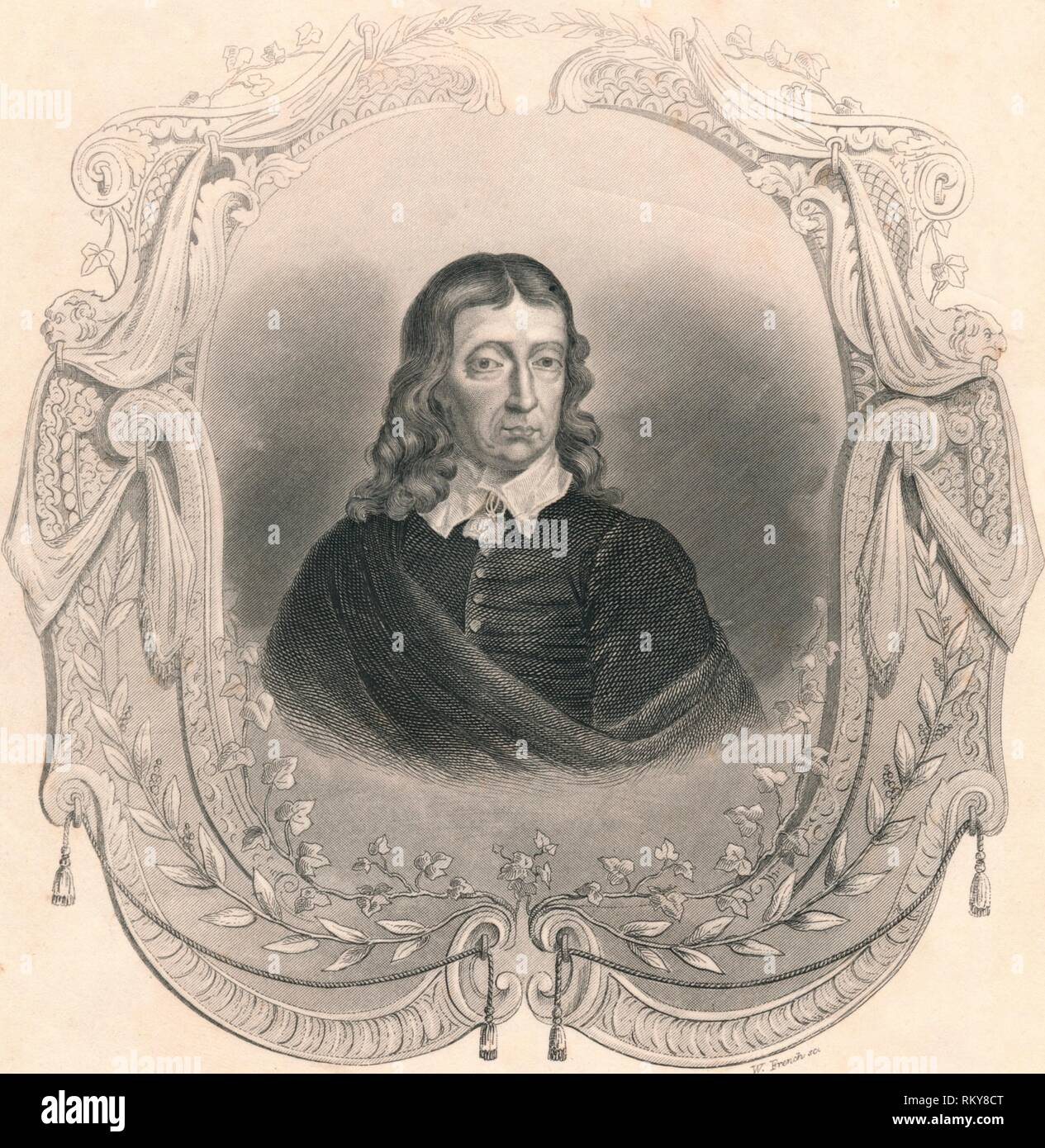 """'Milton', (mid 19th century). Portrait of English poet John Milton (1608-1674), whose most famous work is his epic """"Paradise Lost"""", first published in 1667. Milton became totally blind in about 1652. [John Tallis & Company, London & New York] - Stock Image"""