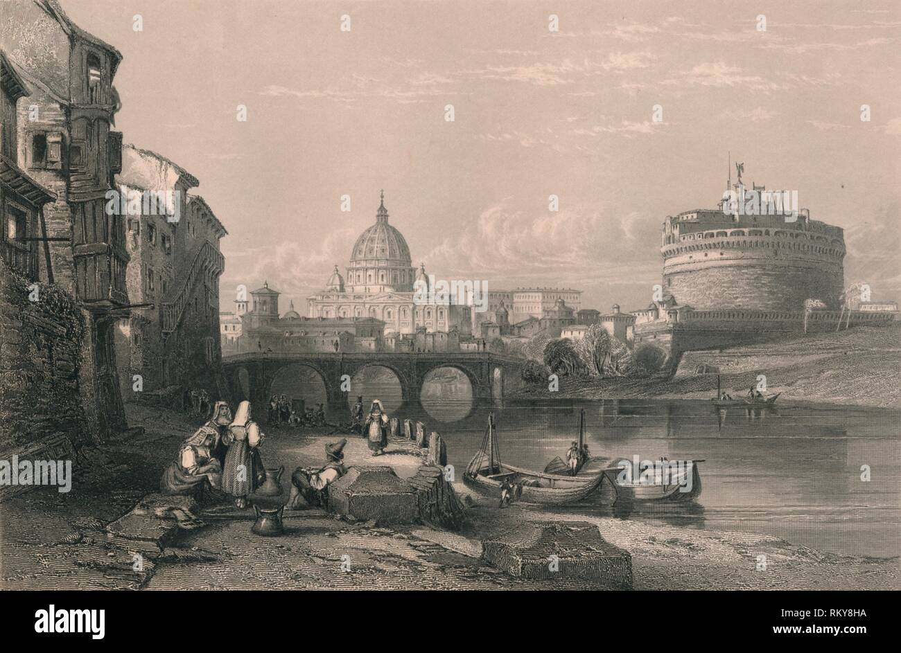 'Rome', 1820s. View of the city of Rome, Italy, with women in traditional costume on the banks of the River Tiber in the foreground. Beyond is the Aelian Bridge, the dome of St Peter's Basilica (centre), and Castel Sant'Angelo on the right. [Fisher, Son & Co., London & Paris] - Stock Image