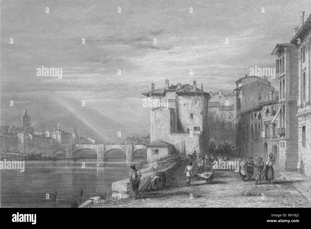 'Verona', 1832. View of the town of Verona in northern Italy: street scene in the foreground, with the bridge over the River Adige in the distance. [John Murray, London, 1832] - Stock Image