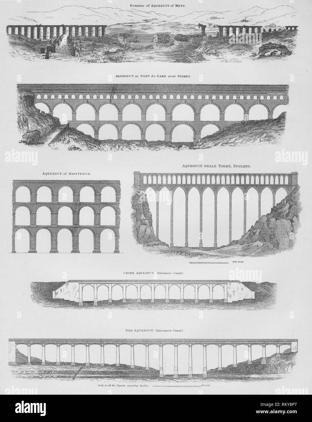 Aqueducts, 1889. 'Remains of Aqueduct of Metz [France, Roman]; Aqueduct of Pont du Gard near Nismes [over the River Gardon near Nîmes, France, Roman]; Aqueduct of Maintenon [built by Louis XIV to carry water from the Eure River to the gardens of the Palace of Versailles, France]; Aqueduct Delle Torre, Spoleto [Ponte delle Torri, Italy, 13th-century aqueduct possibly built on Roman foundations]; Chirk Aqueduct (Ellesmere Canal), [designed in 1801 by Thomas Telford, carries the Llangollen Canal across the River Ceiriog near Wrexham in Wales]; Dee Aqueduct (Ellesmere Canal)', [completed in 1 - Stock Image