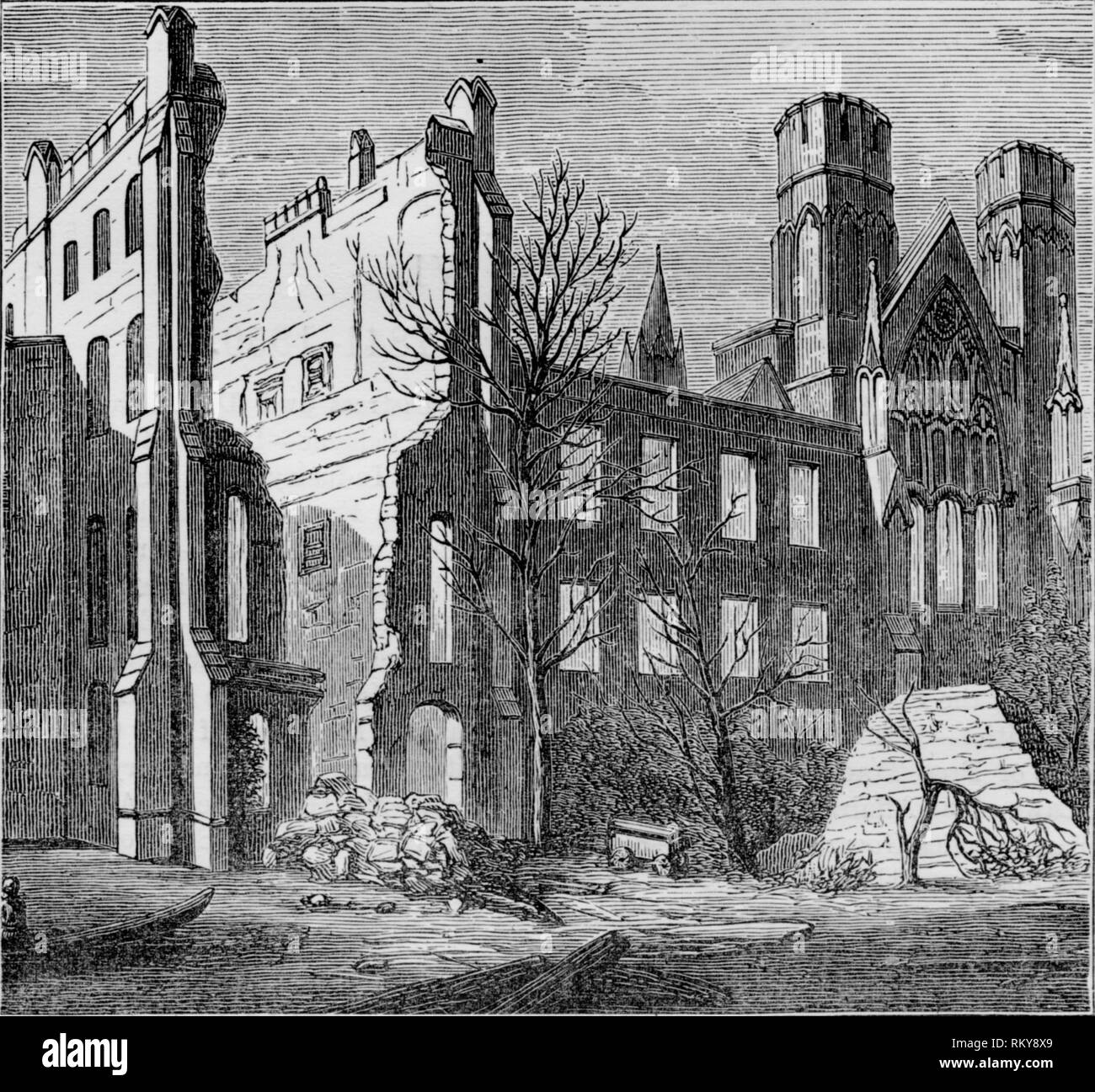 'Ruins of the Houses of Parliament, after the fire in 1834', (c1850s). View of the Palace of Westminster in London after it was destroyed by fire. - Stock Image