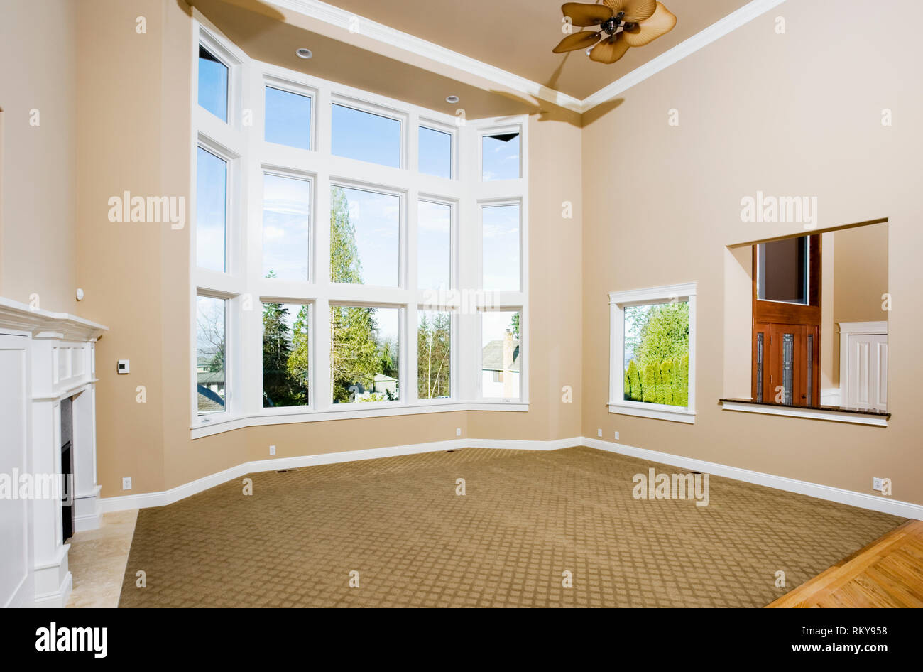 Empty Living Room With Large Windows Stock Photo Alamy
