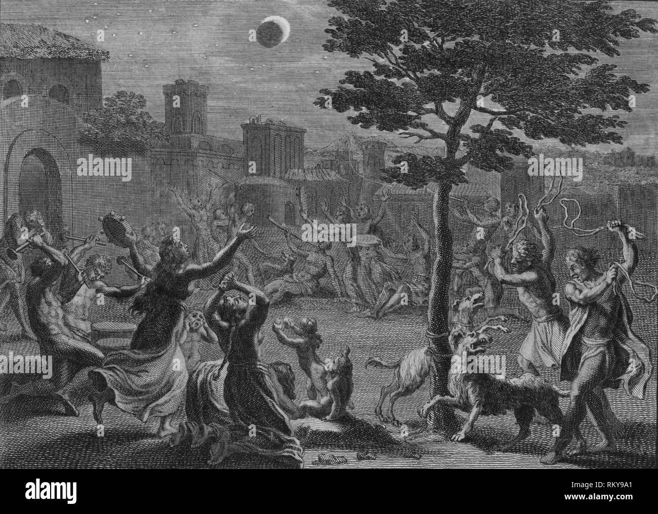 'Desolation des Peruviens pendant L'Eclipse de Lune', 1723.  Creator: Bernard Picart. - Stock Image