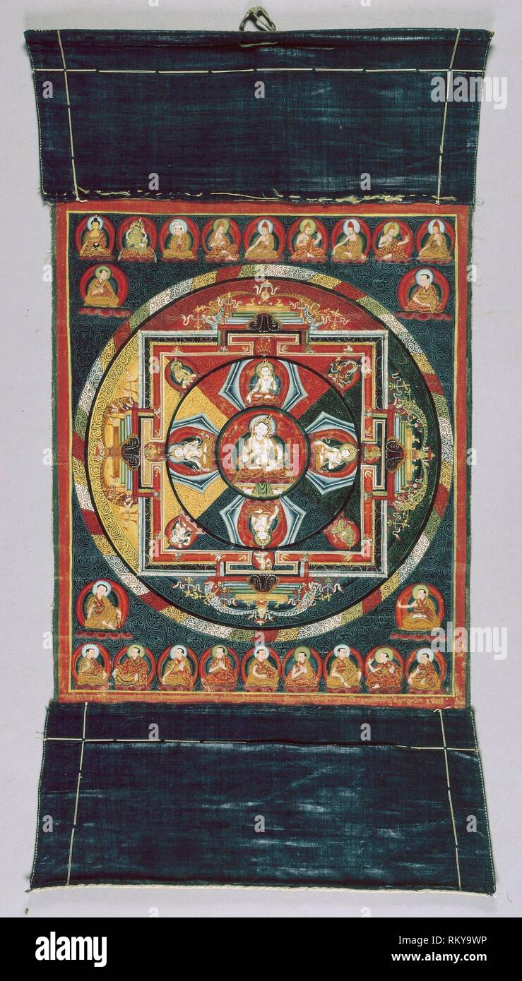 Painted Banner (Thangka) of Vajrasattva Mandala - 15th century - Tibet Ü-Tsang Province - Origin: Tibet, Date: 1399-1499, Medium: Pigment on cloth, - Stock Image