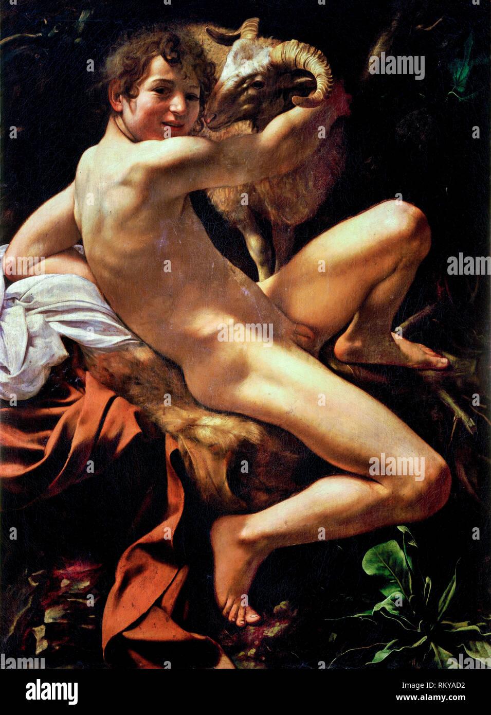 John the Baptist, Caravaggio, 1602, painting - Stock Image