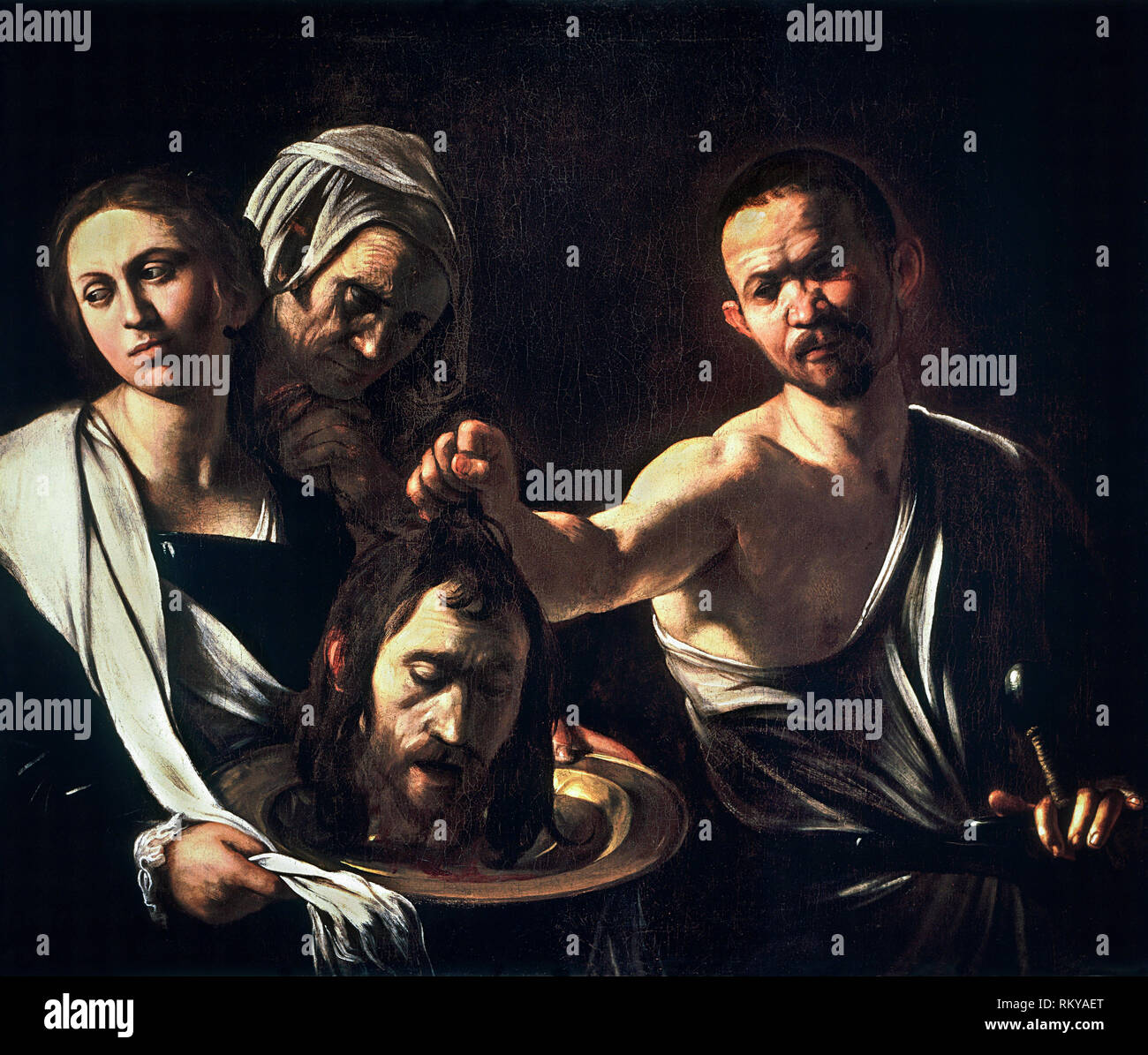 Salome with the Head of John the Baptist, Caravaggio, c.1610, painting - Stock Image
